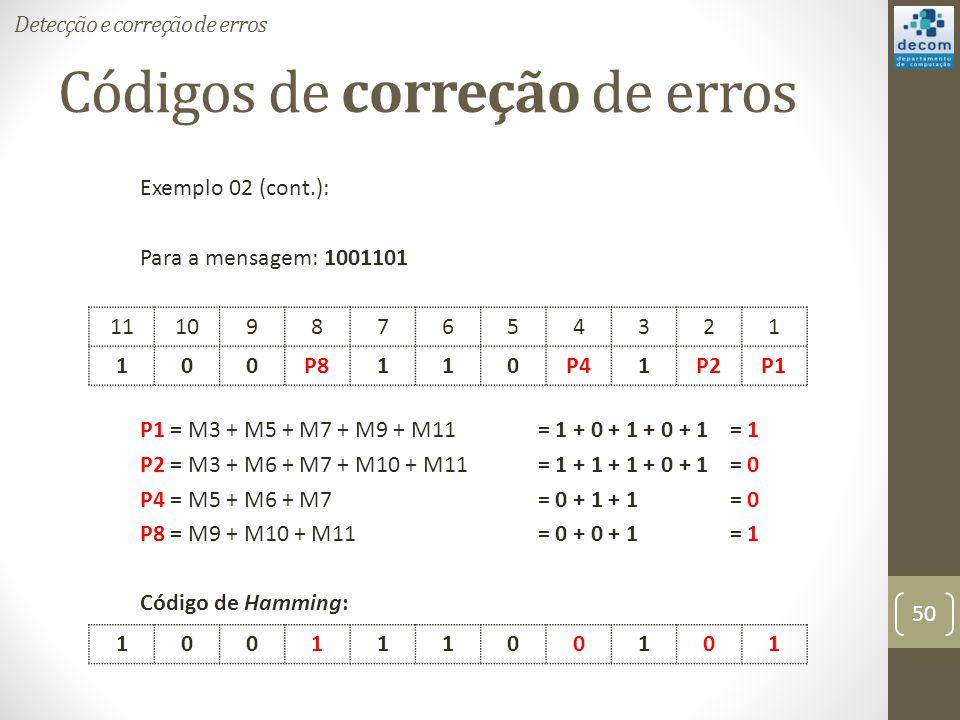 Códigos de correção de erros Exemplo 02 (cont.): Para a mensagem: 1001101 P1 = M3 + M5 + M7 + M9 + M11 = 1 + 0 + 1 + 0 + 1 = 1 P2 = M3 + M6 + M7 + M10
