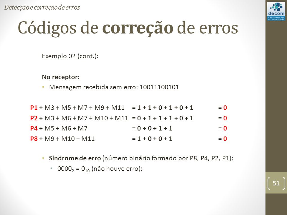 Códigos de correção de erros Exemplo 02 (cont.): No receptor: Mensagem recebida sem erro: 10011100101 P1 + M3 + M5 + M7 + M9 + M11 = 1 + 1 + 0 + 1 + 0