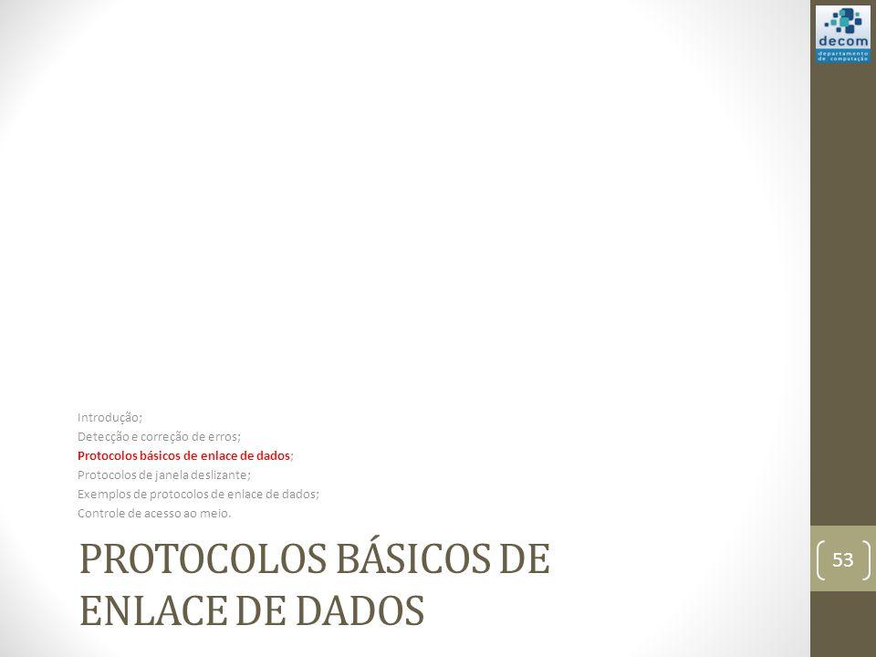 PROTOCOLOS BÁSICOS DE ENLACE DE DADOS Introdução; Detecção e correção de erros; Protocolos básicos de enlace de dados; Protocolos de janela deslizante
