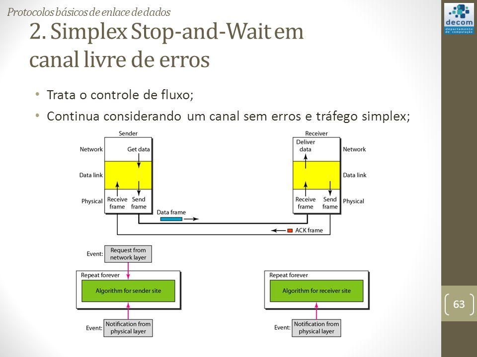 2. Simplex Stop-and-Wait em canal livre de erros Trata o controle de fluxo; Continua considerando um canal sem erros e tráfego simplex; 63 Protocolos