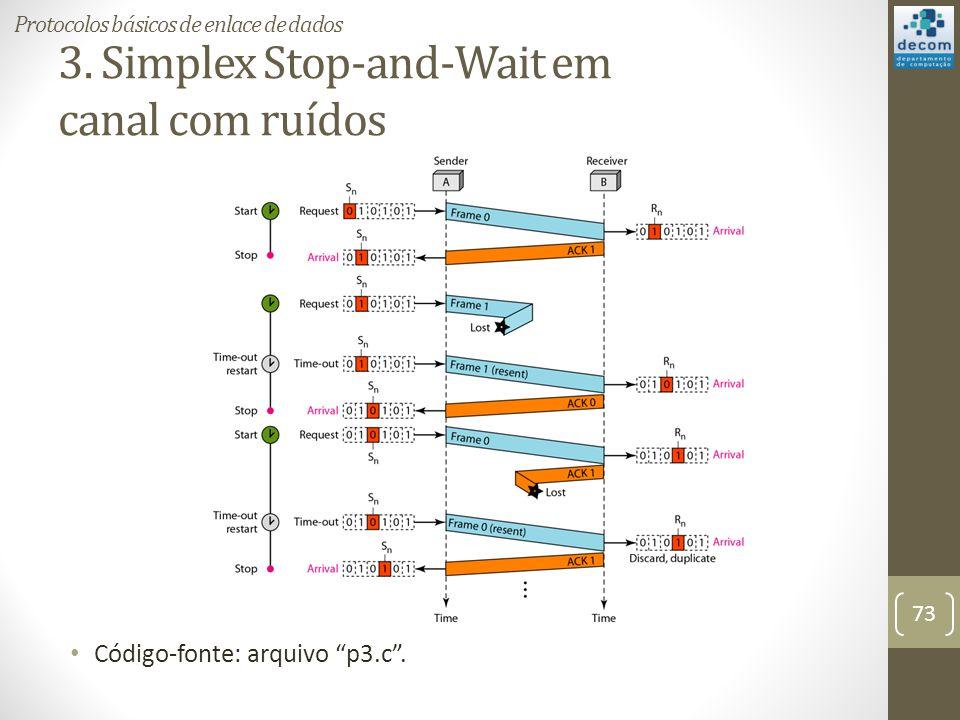 3. Simplex Stop-and-Wait em canal com ruídos Código-fonte: arquivo p3.c. 73 Protocolos básicos de enlace de dados