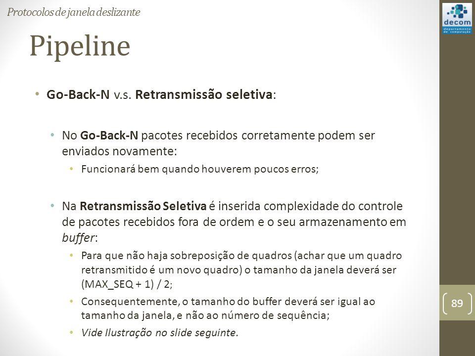 Pipeline Go-Back-N v.s. Retransmissão seletiva: No Go-Back-N pacotes recebidos corretamente podem ser enviados novamente: Funcionará bem quando houver