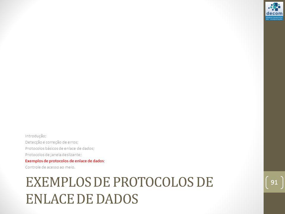 EXEMPLOS DE PROTOCOLOS DE ENLACE DE DADOS Introdução; Detecção e correção de erros; Protocolos básicos de enlace de dados; Protocolos de janela desliz