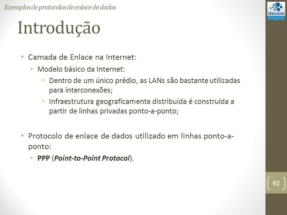 Introdução Camada de Enlace na Internet: Modelo básico da Internet: Dentro de um único prédio, as LANs são bastante utilizadas para interconexões; Inf