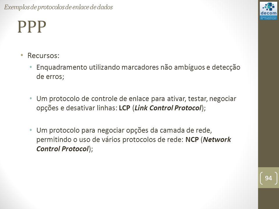 PPP Recursos: Enquadramento utilizando marcadores não ambíguos e detecção de erros; Um protocolo de controle de enlace para ativar, testar, negociar o