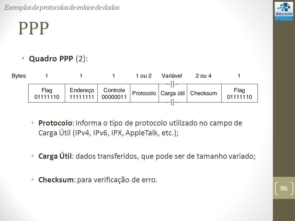 PPP Quadro PPP (2): Protocolo: informa o tipo de protocolo utilizado no campo de Carga Útil (IPv4, IPv6, IPX, AppleTalk, etc.); Carga Útil: dados tran