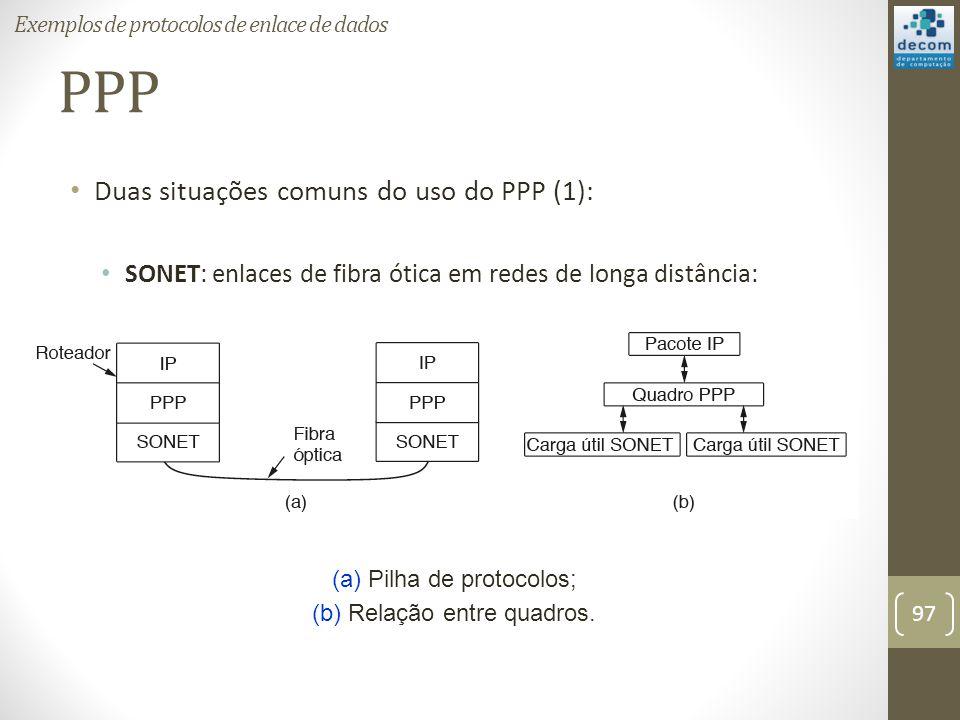 PPP Duas situações comuns do uso do PPP (1): SONET: enlaces de fibra ótica em redes de longa distância: (a) Pilha de protocolos; (b) Relação entre qua
