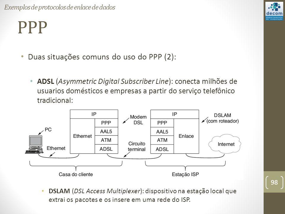 PPP Duas situações comuns do uso do PPP (2): ADSL (Asymmetric Digital Subscriber Line): conecta milhões de usuarios domésticos e empresas a partir do