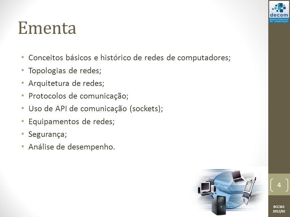 BCC361 2012/02 Ementa Conceitos básicos e histórico de redes de computadores; Topologias de redes; Arquitetura de redes; Protocolos de comunicação; Us
