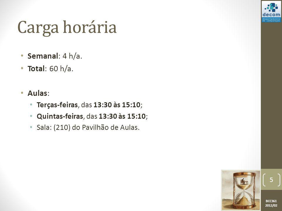 BCC361 2012/02 Carga horária Semanal: 4 h/a. Total: 60 h/a. Aulas: Terças-feiras, das 13:30 às 15:10; Quintas-feiras, das 13:30 às 15:10; Sala: (210)