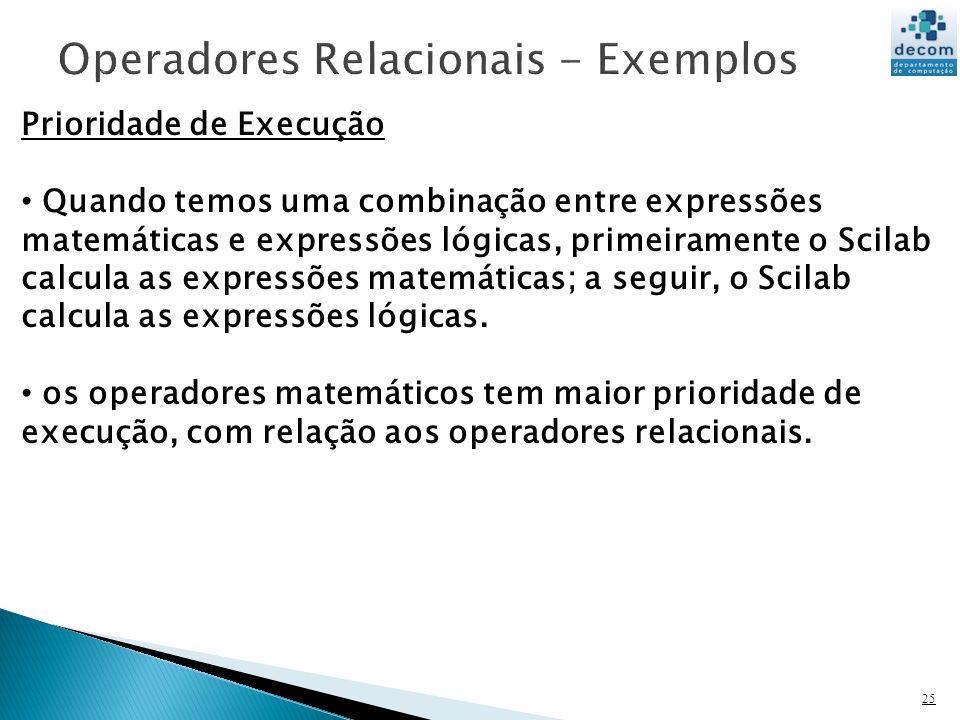 25 Prioridade de Execução Quando temos uma combinação entre expressões matemáticas e expressões lógicas, primeiramente o Scilab calcula as expressões matemáticas; a seguir, o Scilab calcula as expressões lógicas.