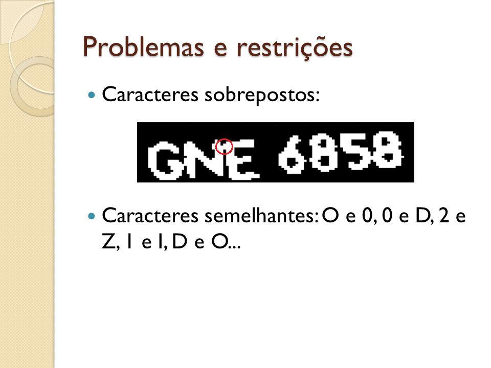 Problemas e restrições Caracteres sobrepostos: Caracteres semelhantes: O e 0, 0 e D, 2 e Z, 1 e I, D e O...
