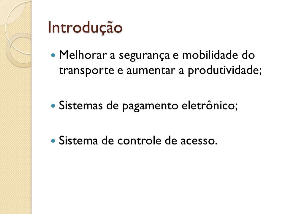 Introdução Melhorar a segurança e mobilidade do transporte e aumentar a produtividade; Sistemas de pagamento eletrônico; Sistema de controle de acesso.