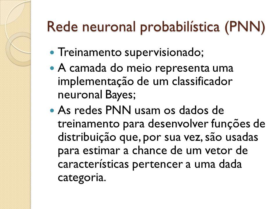Rede neuronal probabilística (PNN) Treinamento supervisionado; A camada do meio representa uma implementação de um classificador neuronal Bayes; As redes PNN usam os dados de treinamento para desenvolver funções de distribuição que, por sua vez, são usadas para estimar a chance de um vetor de características pertencer a uma dada categoria.