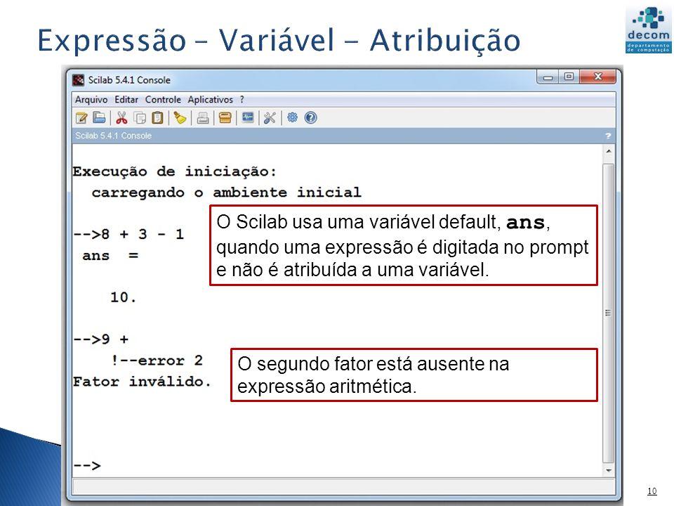 11 As variáveis de um expressão, do lado direito de uma atribuição, devem estar definidas.