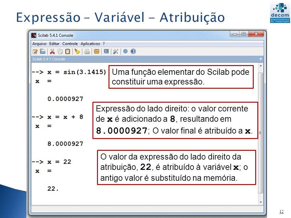 12 Uma função elementar do Scilab pode constituir uma expressão. Expressão do lado direito: o valor corrente de x é adicionado a 8, resultando em 8.00