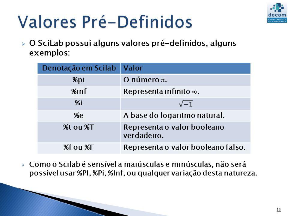 O SciLab possui alguns valores pré-definidos, alguns exemplos: Como o Scilab é sensível a maiúsculas e minúsculas, não será possível usar %PI, %Pi, %I