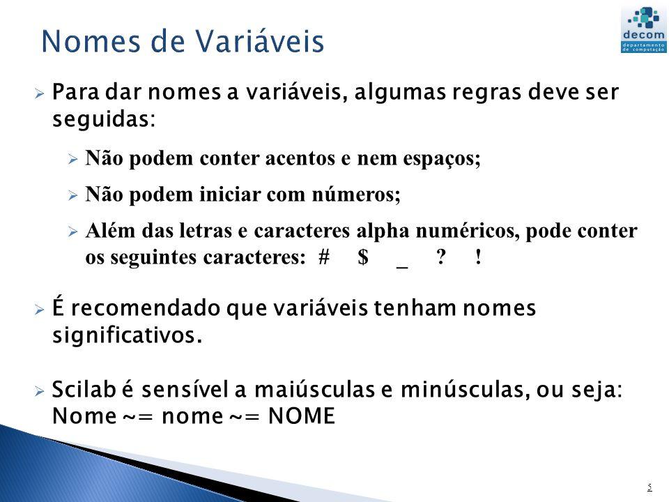 6 A escolha de nomes significativos para as variáveis ajuda ao programador entender o que o programa faz e a prevenir erros.
