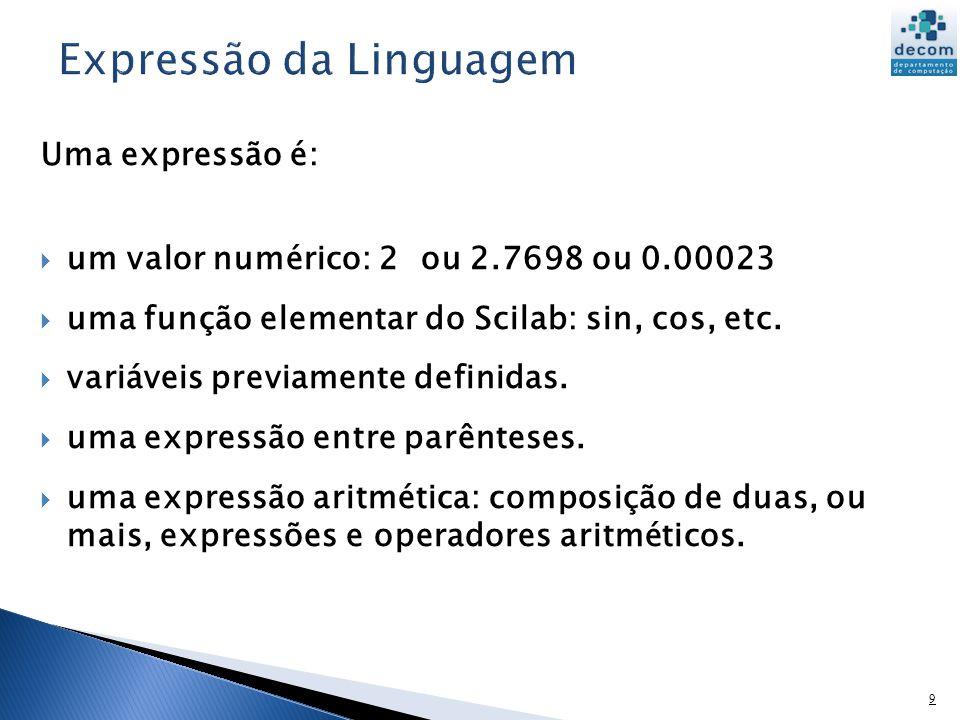 10 O Scilab usa uma variável default, ans, quando uma expressão é digitada no prompt e não é atribuída a uma variável.