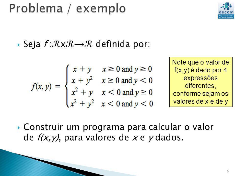Seja f :x definida por: Construir um programa para calcular o valor de f(x,y), para valores de x e y dados. 9 Note que o valor de f(x,y) é dado por 4