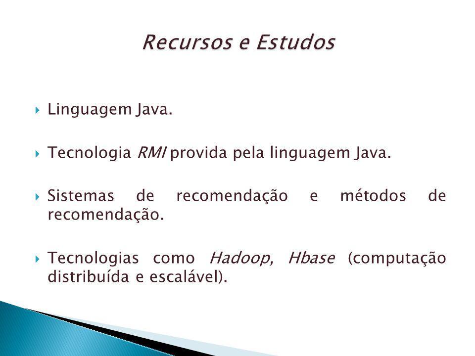 Linguagem Java. Tecnologia RMI provida pela linguagem Java. Sistemas de recomendação e métodos de recomendação. Tecnologias como Hadoop, Hbase (comput