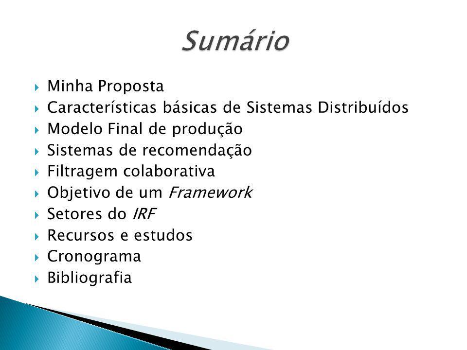 Minha Proposta Características básicas de Sistemas Distribuídos Modelo Final de produção Sistemas de recomendação Filtragem colaborativa Objetivo de u
