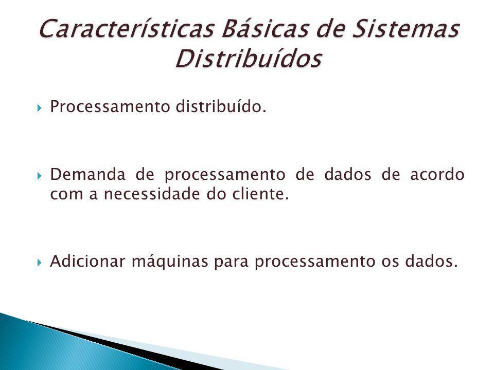 Processamento distribuído. Demanda de processamento de dados de acordo com a necessidade do cliente. Adicionar máquinas para processamento os dados.