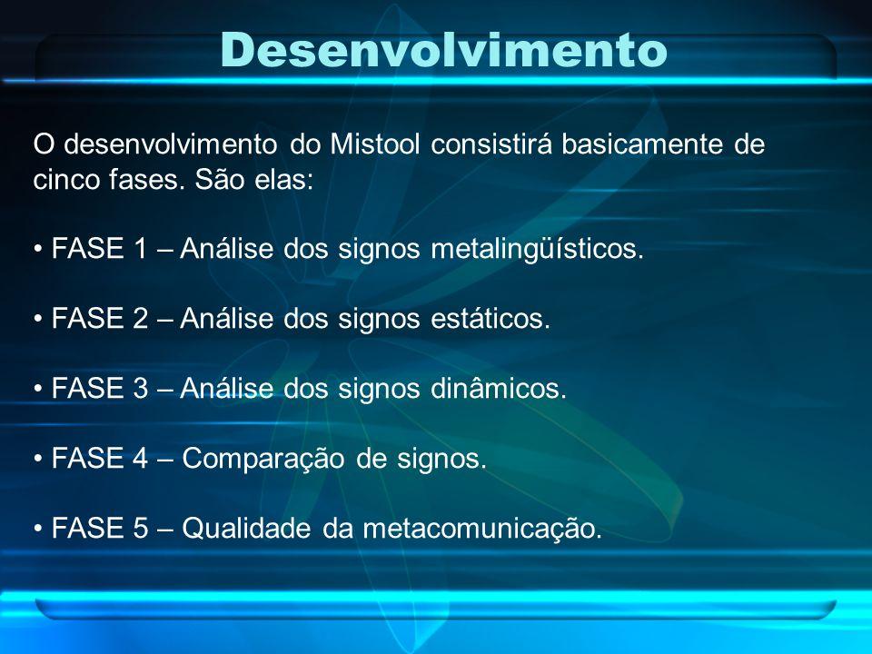 Desenvolvimento O desenvolvimento do Mistool consistirá basicamente de cinco fases. São elas: FASE 1 – Análise dos signos metalingüísticos. FASE 2 – A