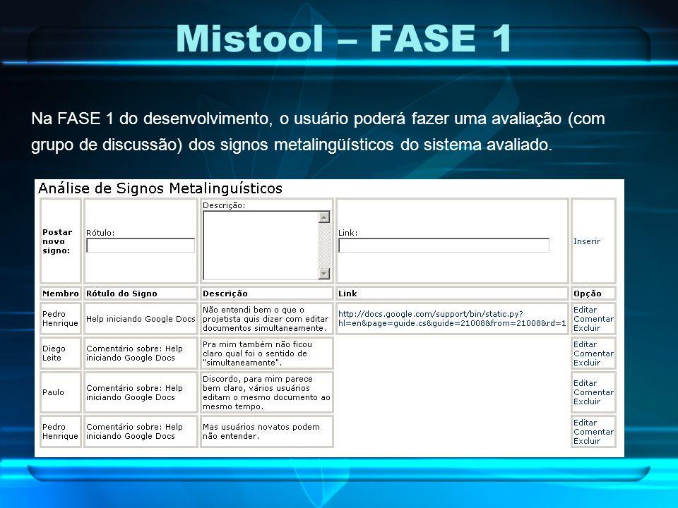 Mistool – FASE 1 Na FASE 1 do desenvolvimento, o usuário poderá fazer uma avaliação (com grupo de discussão) dos signos metalingüísticos do sistema av