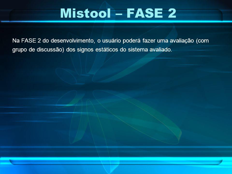 Mistool – FASE 2 Na FASE 2 do desenvolvimento, o usuário poderá fazer uma avaliação (com grupo de discussão) dos signos estáticos do sistema avaliado.