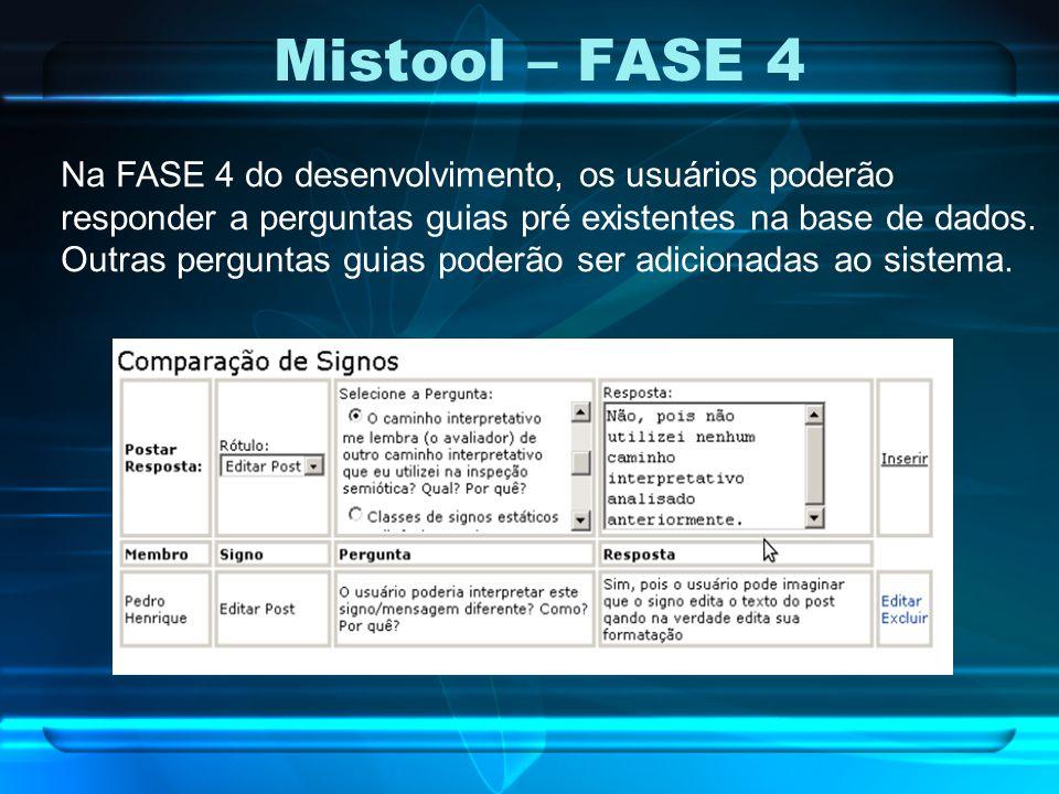 Mistool – FASE 4 Na FASE 4 do desenvolvimento, os usuários poderão responder a perguntas guias pré existentes na base de dados. Outras perguntas guias