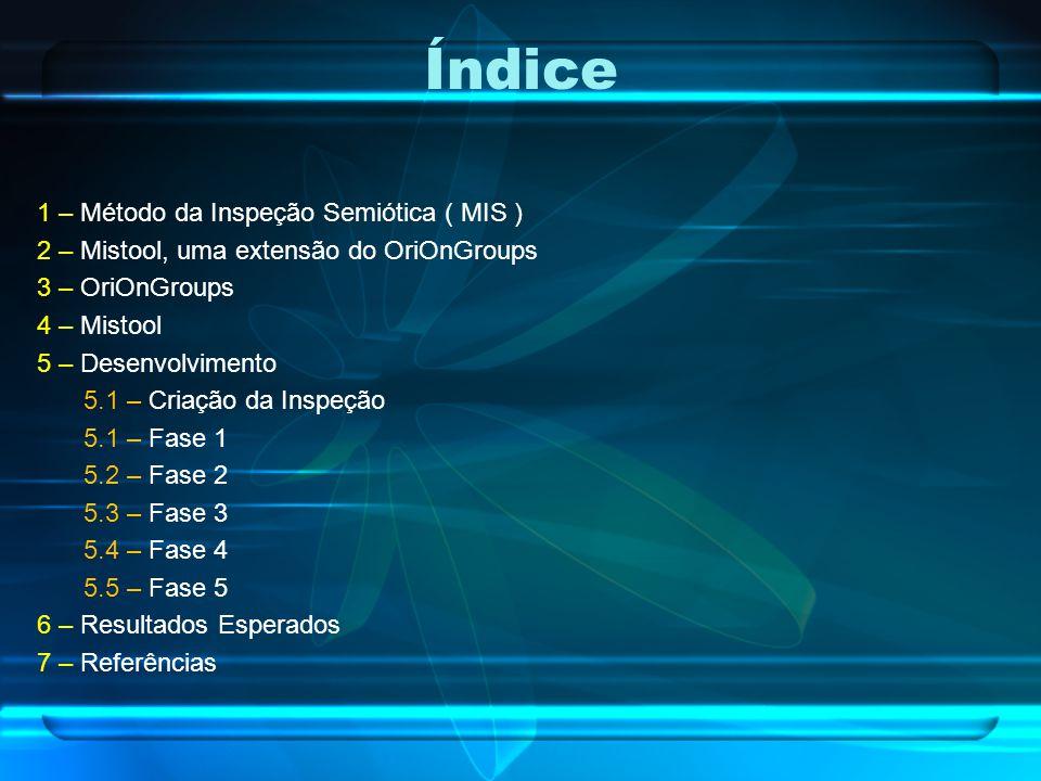 Índice 1 – Método da Inspeção Semiótica ( MIS ) 2 – Mistool, uma extensão do OriOnGroups 3 – OriOnGroups 4 – Mistool 5 – Desenvolvimento 5.1 – Criação