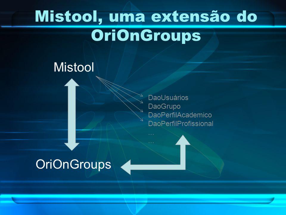 Mistool, uma extensão do OriOnGroups Mistool OriOnGroups DaoUsuários DaoGrupo DaoPerfilAcademico DaoPerfilProfissional...