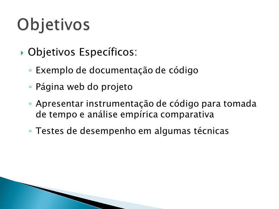 Objetivos Específicos: Exemplo de documentação de código Página web do projeto Apresentar instrumentação de código para tomada de tempo e análise empí