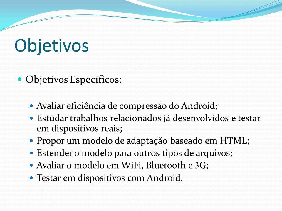Objetivos Objetivos Específicos: Avaliar eficiência de compressão do Android; Estudar trabalhos relacionados já desenvolvidos e testar em dispositivos reais; Propor um modelo de adaptação baseado em HTML; Estender o modelo para outros tipos de arquivos; Avaliar o modelo em WiFi, Bluetooth e 3 G; Testar em dispositivos com Android.