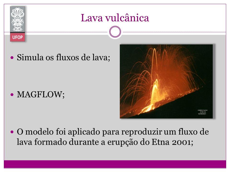 Lava vulcânica Simula os fluxos de lava; MAGFLOW; O modelo foi aplicado para reproduzir um fluxo de lava formado durante a erupção do Etna 2001;