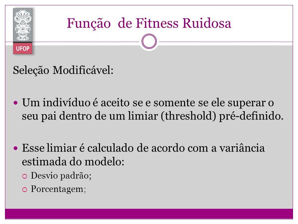 Função de Fitness Ruidosa Seleção Modificável: Um indivíduo é aceito se e somente se ele superar o seu pai dentro de um limiar (threshold) pré-definid
