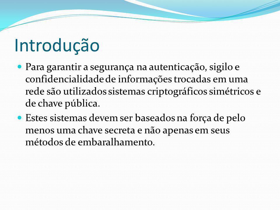 Introdução Para garantir a segurança na autenticação, sigilo e confidencialidade de informações trocadas em uma rede são utilizados sistemas criptográ