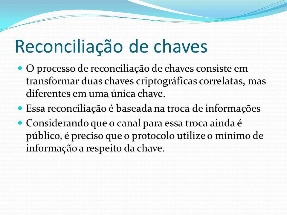 Reconciliação de chaves O processo de reconciliação de chaves consiste em transformar duas chaves criptográficas correlatas, mas diferentes em uma úni
