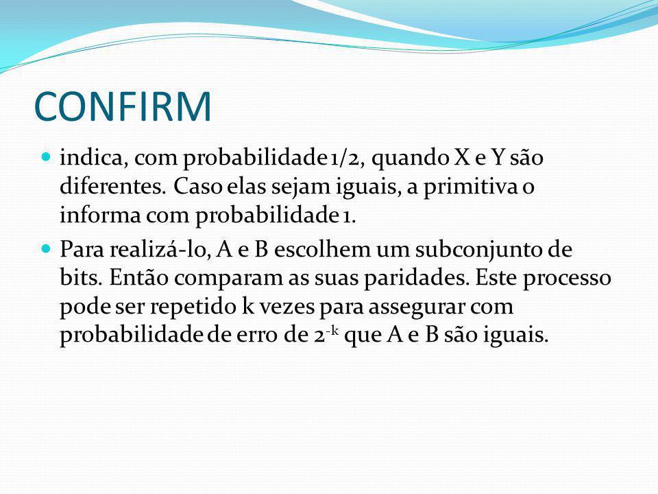 CONFIRM indica, com probabilidade 1/2, quando X e Y são diferentes. Caso elas sejam iguais, a primitiva o informa com probabilidade 1. Para realizá-lo