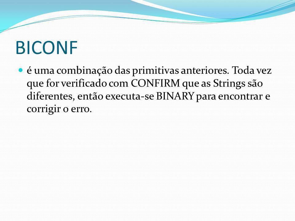 BICONF é uma combinação das primitivas anteriores. Toda vez que for verificado com CONFIRM que as Strings são diferentes, então executa-se BINARY para