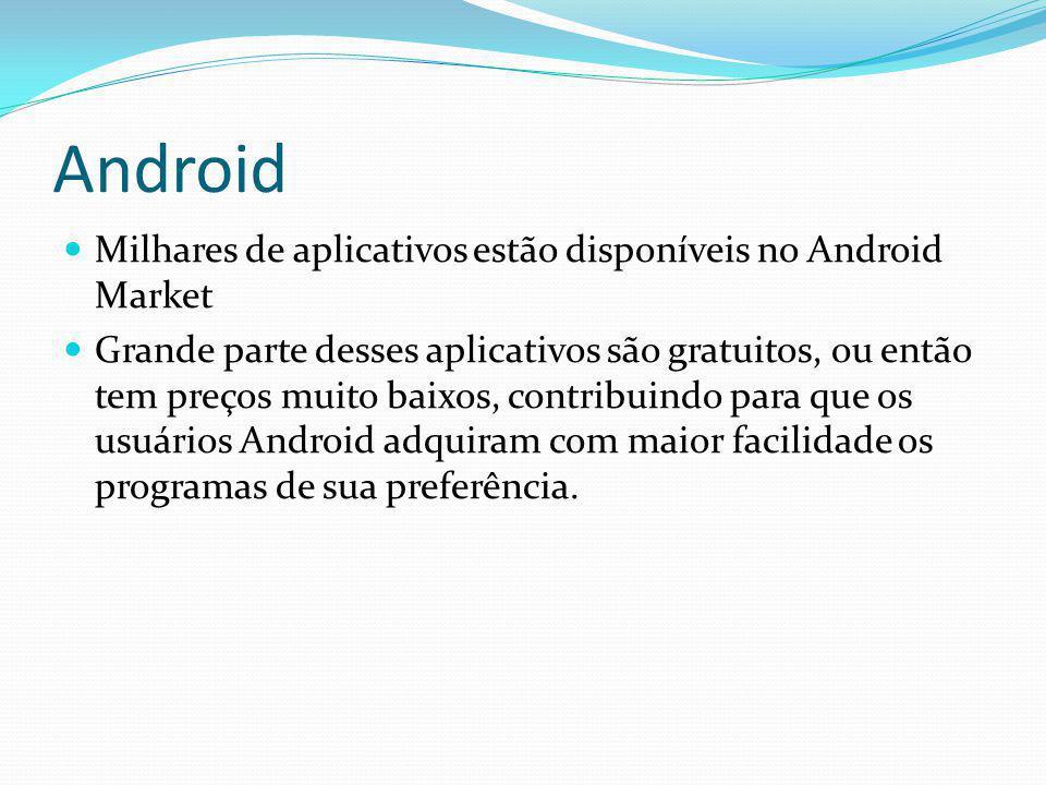Android Milhares de aplicativos estão disponíveis no Android Market Grande parte desses aplicativos são gratuitos, ou então tem preços muito baixos, c