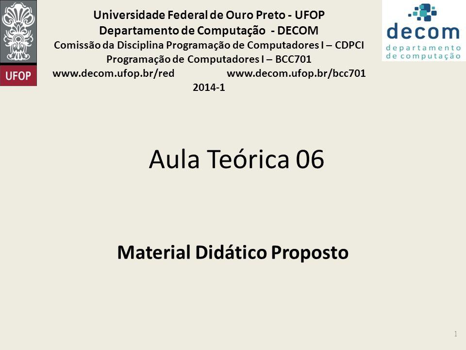 Aula Teórica 06 Material Didático Proposto 1 Universidade Federal de Ouro Preto - UFOP Departamento de Computação - DECOM Comissão da Disciplina Progr
