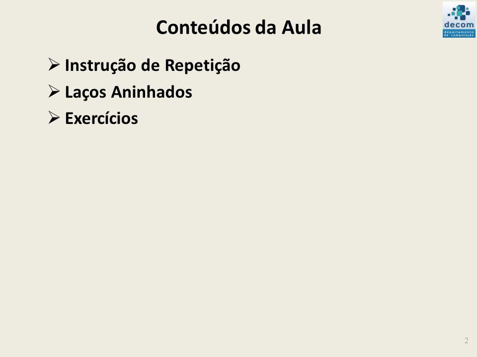 Conteúdos da Aula Instrução de Repetição Laços Aninhados Exercícios 2
