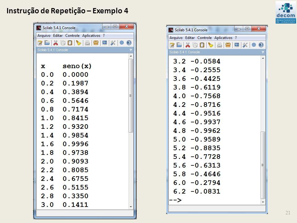 Instrução de Repetição – Exemplo 4 21
