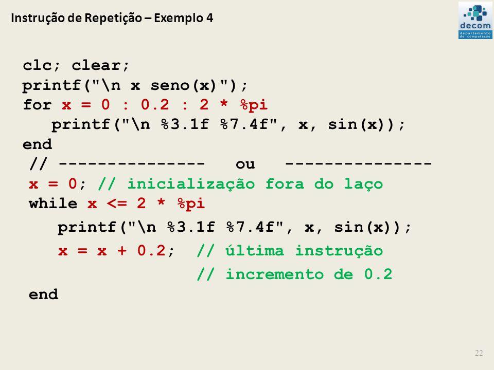 Instrução de Repetição – Exemplo 4 22 clc; clear; printf(