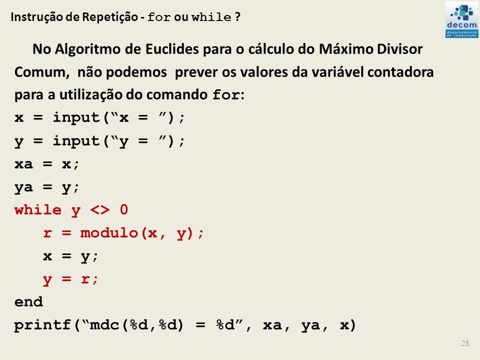 Instrução de Repetição - for ou while ? No Algoritmo de Euclides para o cálculo do Máximo Divisor Comum, não podemos prever os valores da variável con