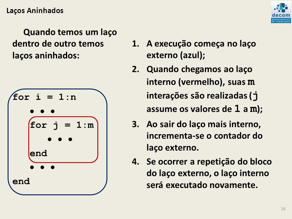 Laços Aninhados 36 Quando temos um laço dentro de outro temos laços aninhados: for i = 1:n for j = 1:m end end 1.A execução começa no laço externo (az