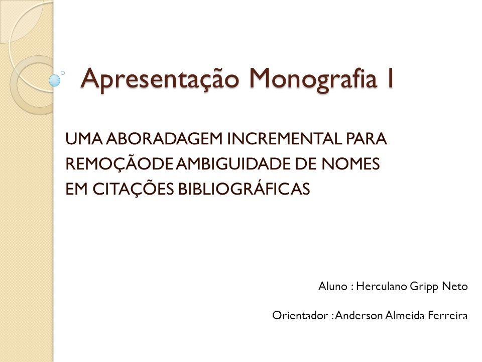 Apresentação Monografia I UMA ABORADAGEM INCREMENTAL PARA REMOÇÃODE AMBIGUIDADE DE NOMES EM CITAÇÕES BIBLIOGRÁFICAS Aluno : Herculano Gripp Neto Orien