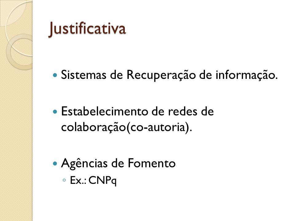 Justificativa Sistemas de Recuperação de informação. Estabelecimento de redes de colaboração(co-autoria). Agências de Fomento Ex.: CNPq